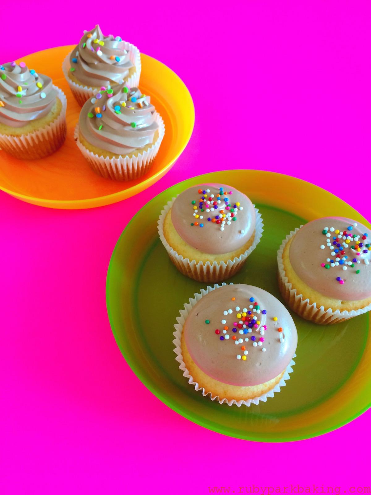 Vanilla chocolate chantilly cream cupcakes on rubyparkbaking.com