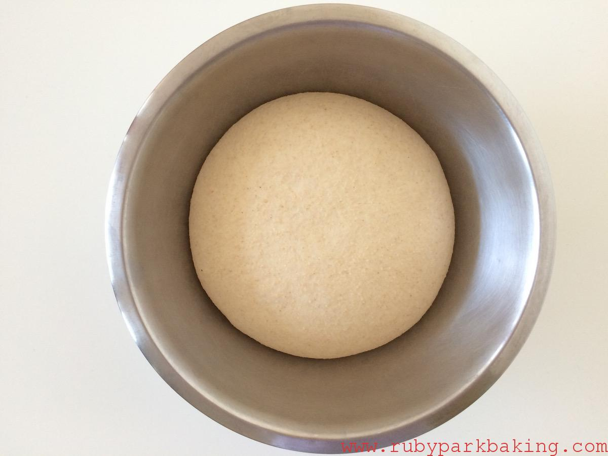 Whole wheat pizza dough on rubyparkbaking.com