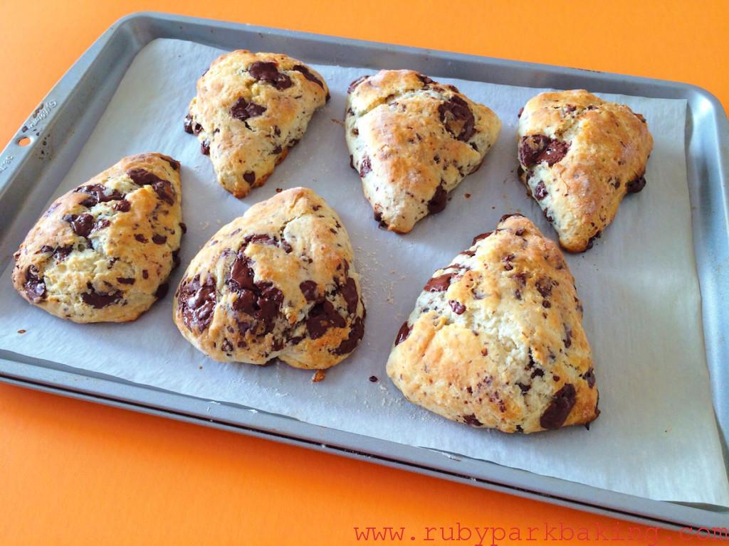 Chocolate chunk scones on rubyparkbaking.com