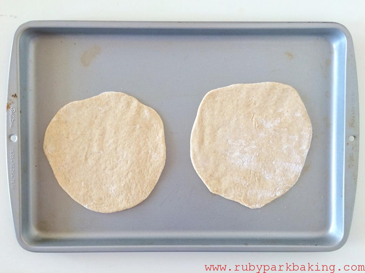 Homemade whole wheat pita bread on rubyparkbaking.com