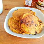 Pumpkin chocolate pancakes on rubyparkbaking.com